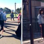 長ネギを散歩させる不思議な女性の姿が目撃される…豪シドニー
