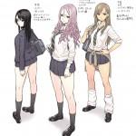 twitter「電車で漫画みたいな女子高生3人組がいたからイラストにしてみた」