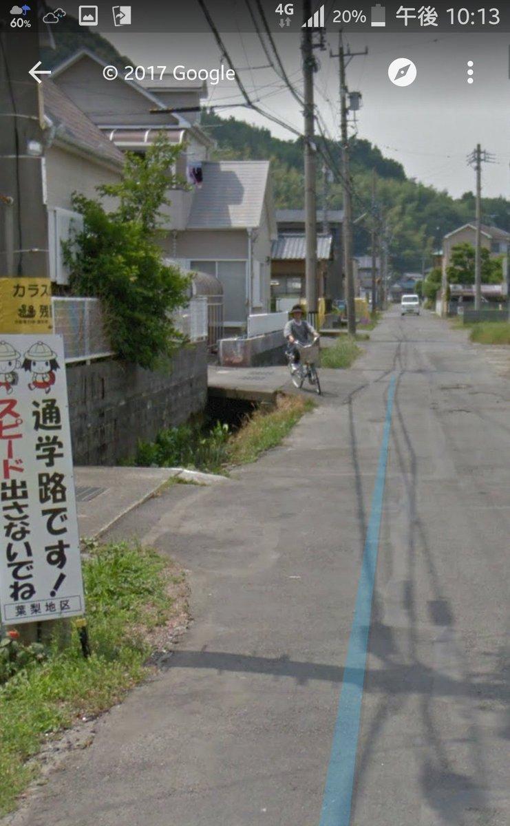 【画像】自転車に乗る婆さんがよろついて用水路に落ちる様子をグーグルマップカーが激写してしまう