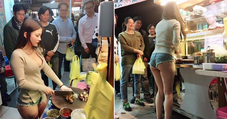 【画像】台湾の市場 美女がショートパンツで肉を切る姿見たさに客が殺到し売上が4倍にww