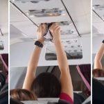 【画像】女子、飛行機内の空調でパンツを乾かす姿を盗撮される