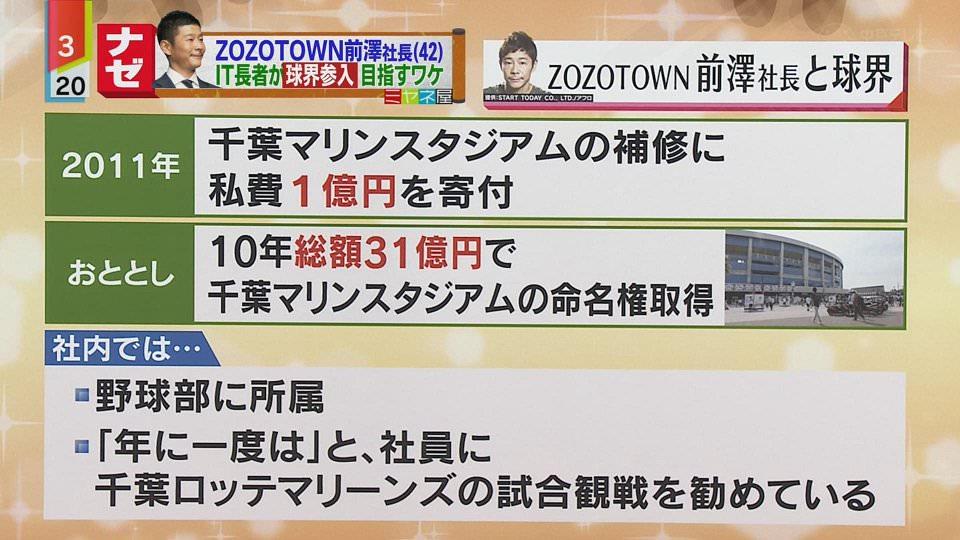 ZOZO前澤「うちの社員には年に一度ロッテ戦の試合を観るようにさせている」