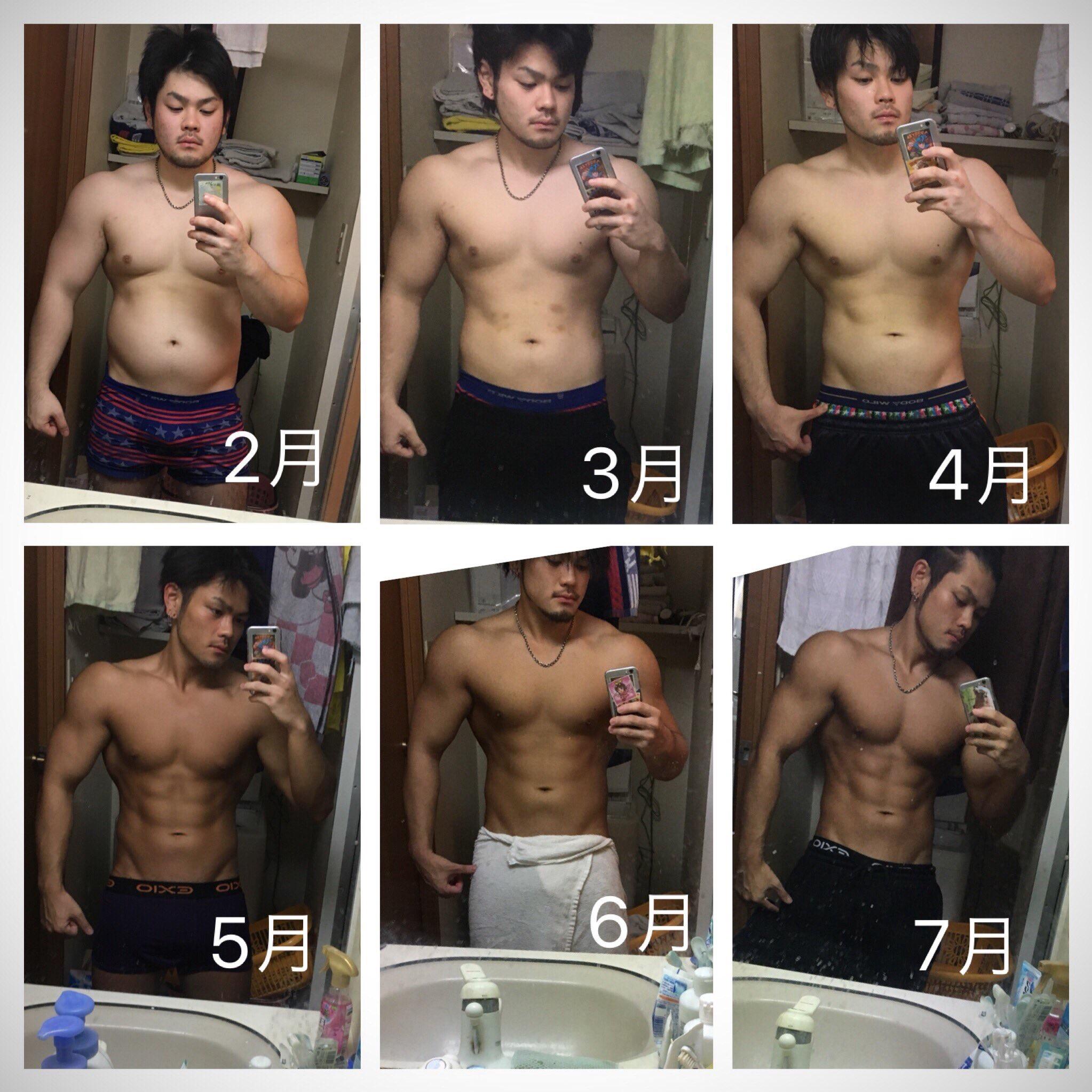 【画像】太ってる男の子が半年筋トレしまくった結果www