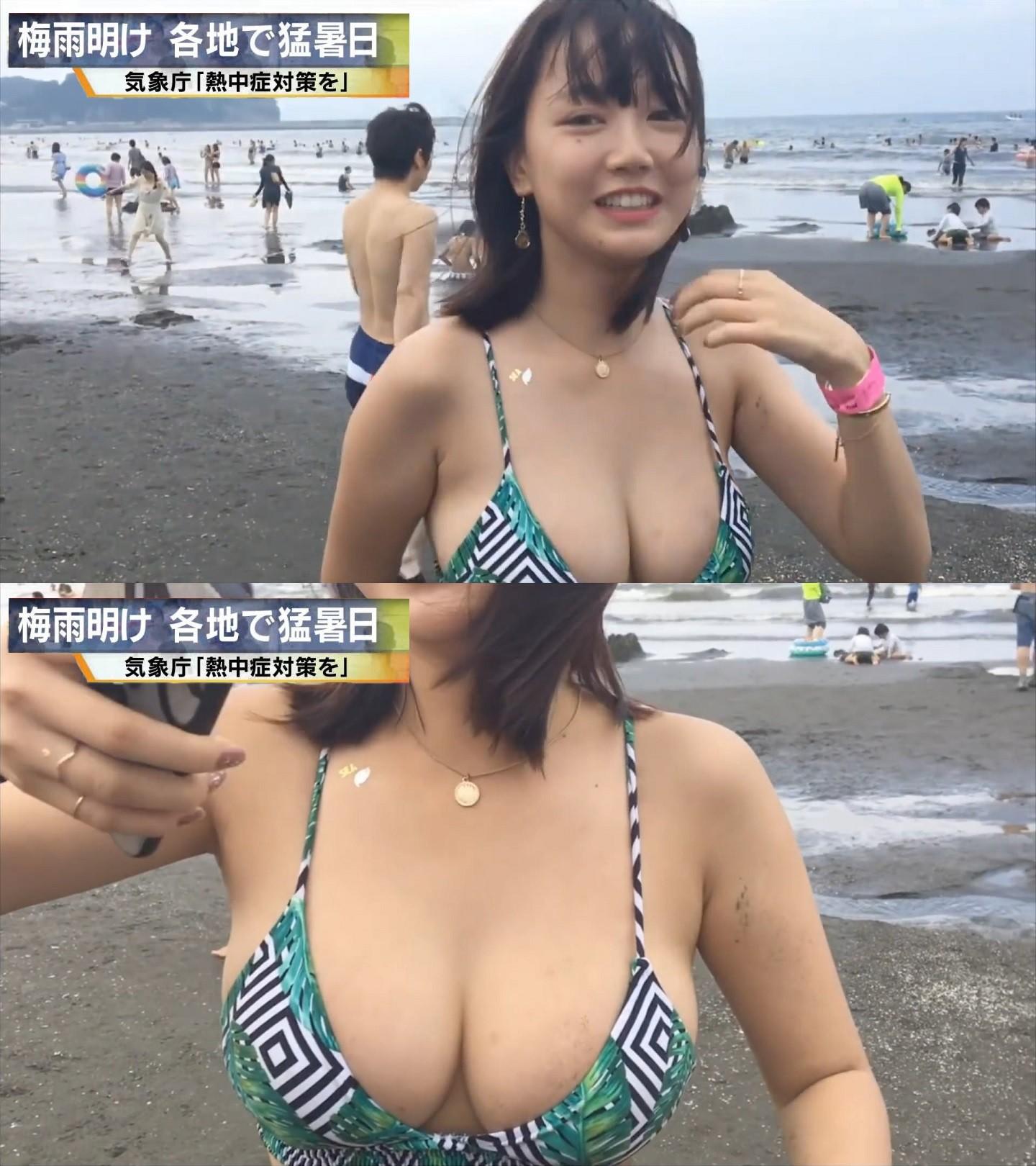 【画像】NHK、爆乳JKを映してしまう