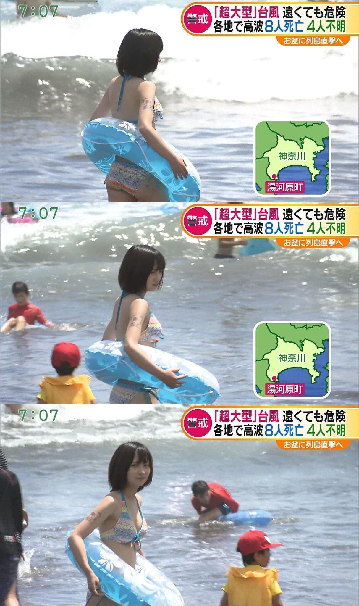 【画像】この細身美人の素人水着女子w