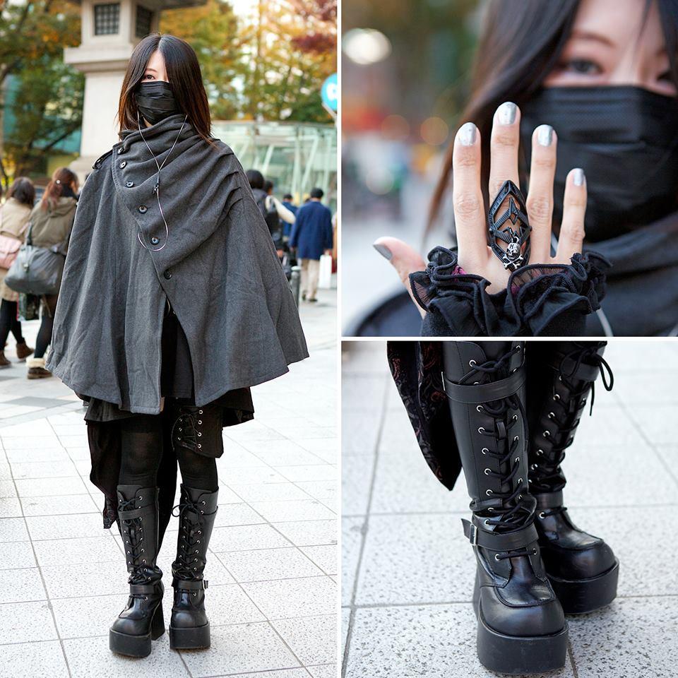 【画像】女子、黒マスクに合うファッションを生み出すw