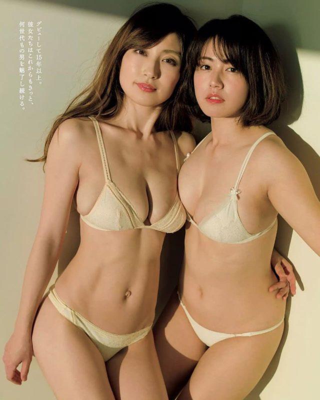 【画像】熊田曜子(36)磯山さやか(36)どすけべ乳合わせグラビアww