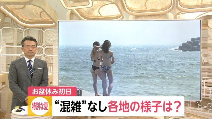 【画像】ニュースにエチエチ水着女子が映ってしまうw