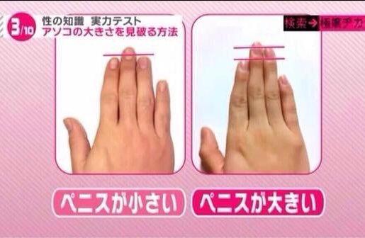 【画像】まんさん、人差し指と薬指の長さでチ●ポのデカさを見抜いてしまうw