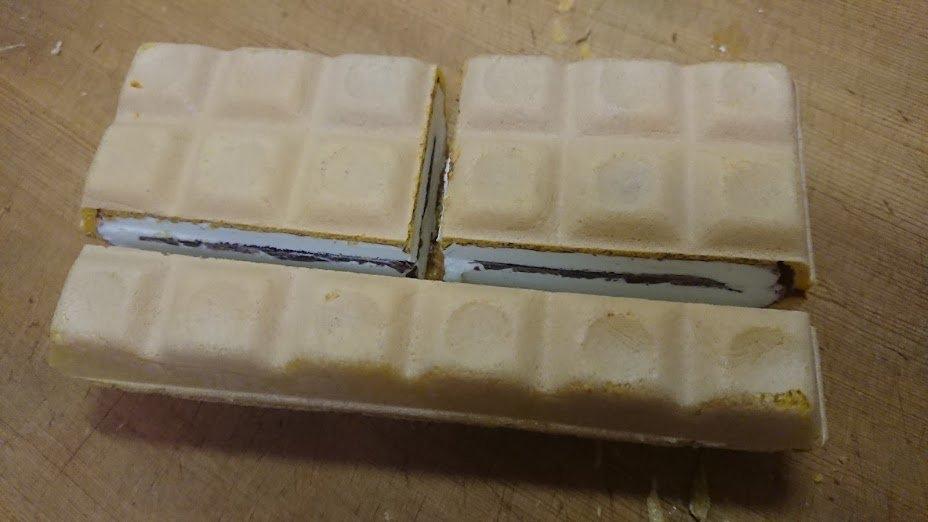 【画像】チョコモナカジャンボを完璧に3等分する方法が見つかる!