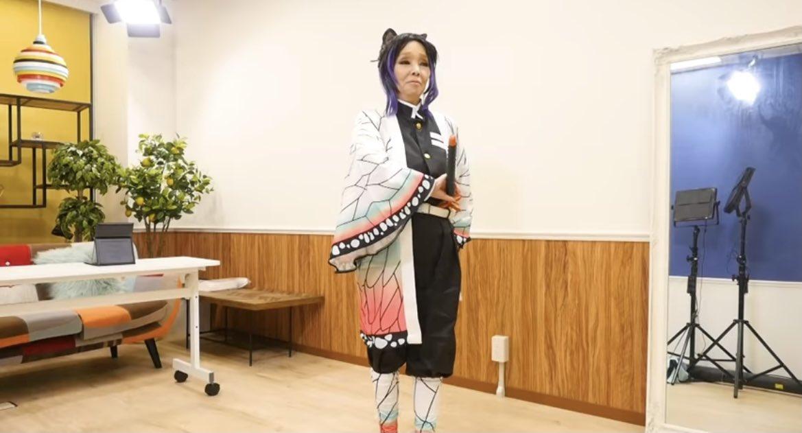 【画像】研ナオコ、胡蝶しのぶのコスプレをしてしまう