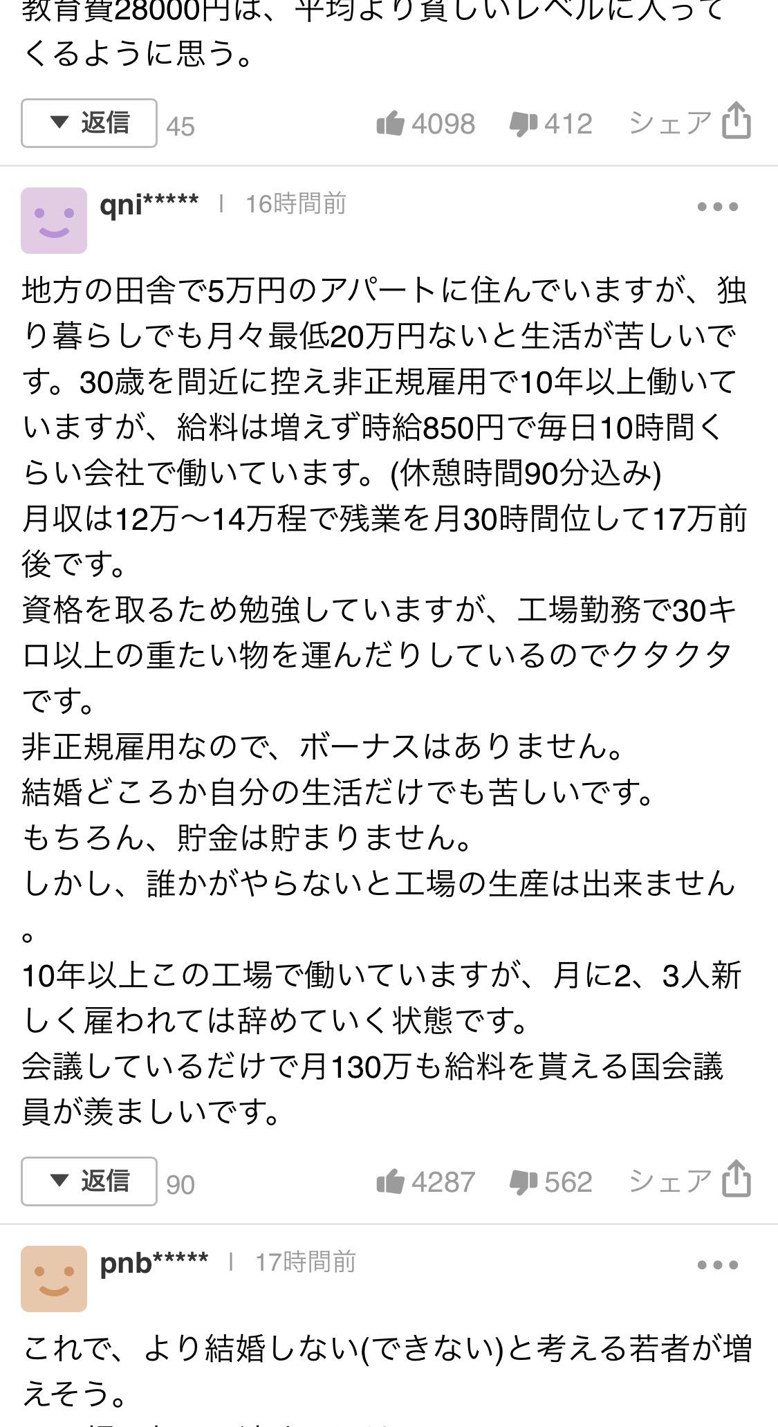 ヤフコメ民さん、派遣社員月手取り12万円の底辺生活だった