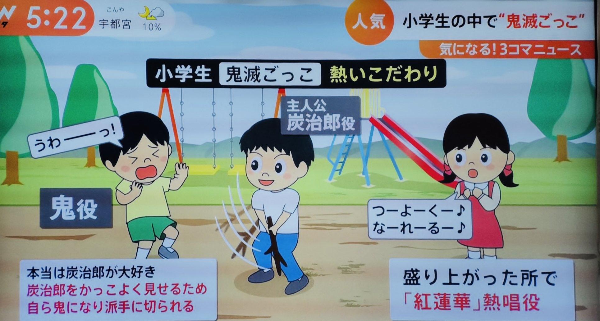 【画像】 鬼滅ごっこが小学生のブームに!鬼滅の炭治郎役、鬼役、LISA役が特に人気