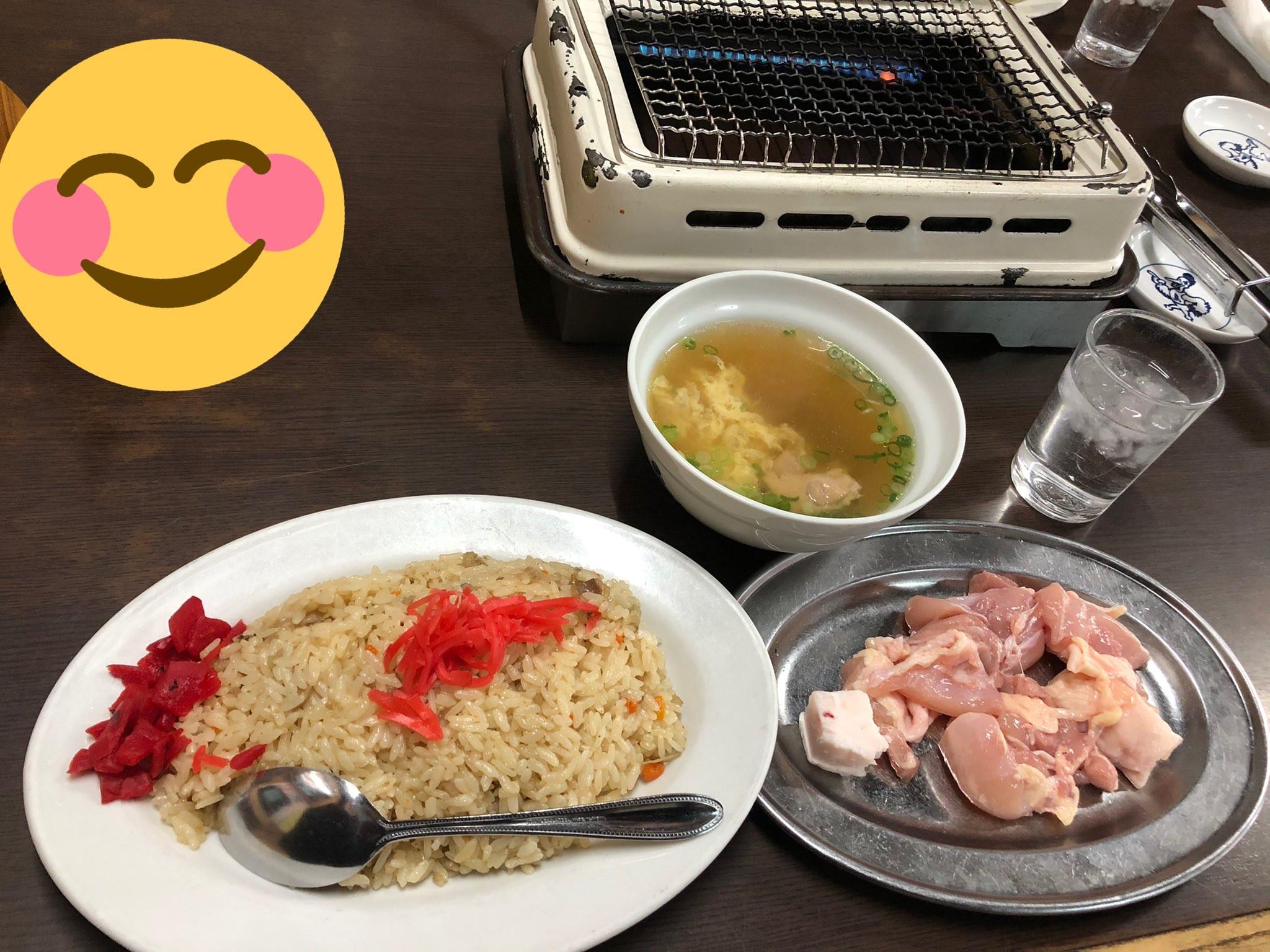【画像】近所の飯屋の焼鳥チャーハン定食(750円)