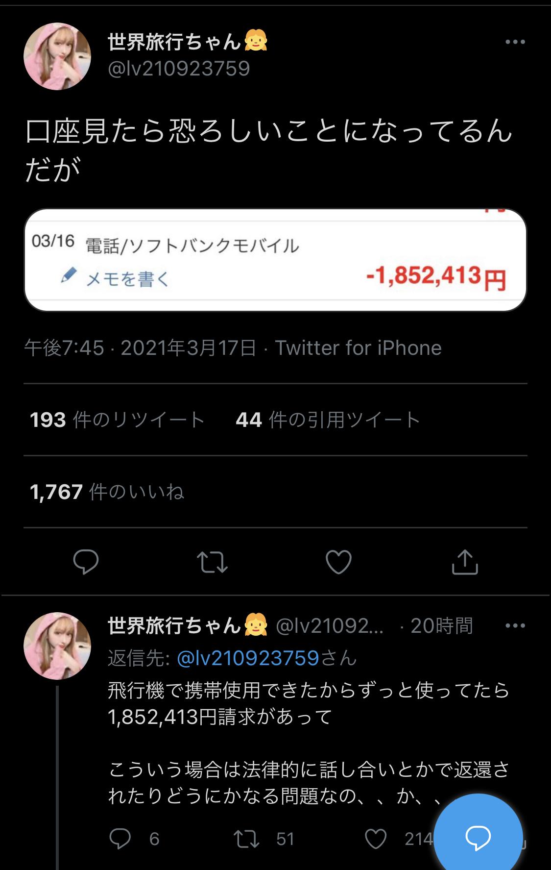 【悲報】まんさん「助けて!飛行機で携帯触ってたら携帯会社から不当に180万円請求されたの!」