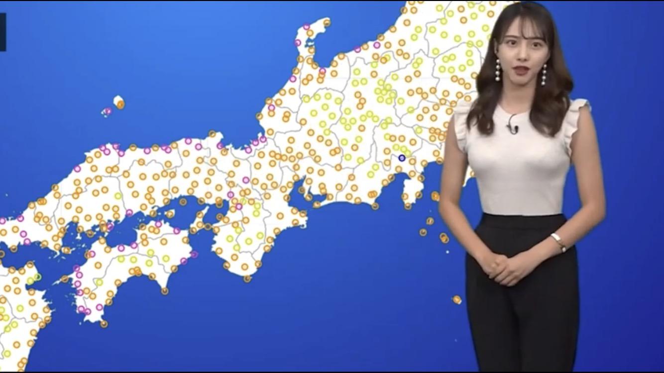 【画像】お天気お姉さん、おっぱいの形が丸わかり!!